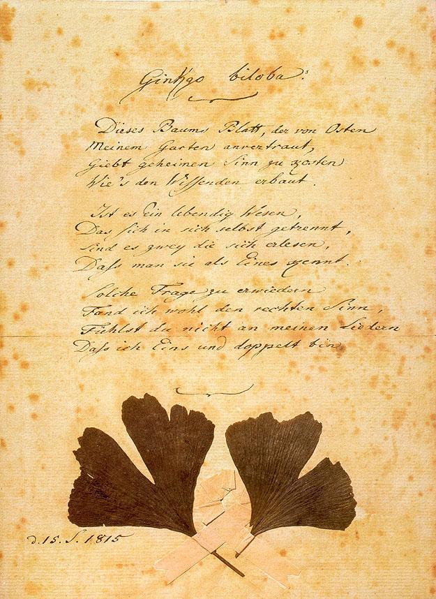 Johann Wolfgang von Goethe: Ginkgo Biloba, 1815.