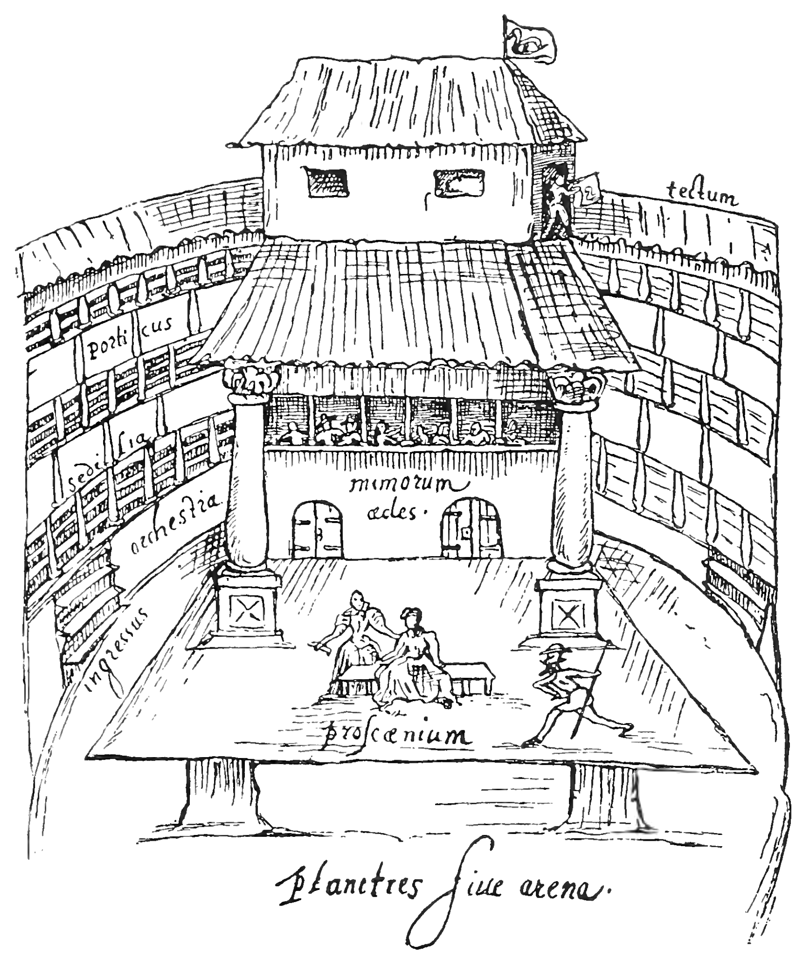 A performance in progress at the Swan theatre in London in 1596.